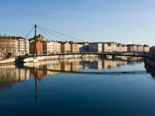 The bank of the Saone river at the city of Lyon